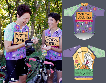 Short sleeve and sleeveless examples of the Essential Journeys Bicycle Jersey. Photo by rebecca d'angelo, courtesy Essential Journeys.