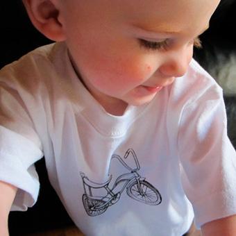 Banana bike illustration on t-shirt. Photo courtesy Roly Poly Crafts.