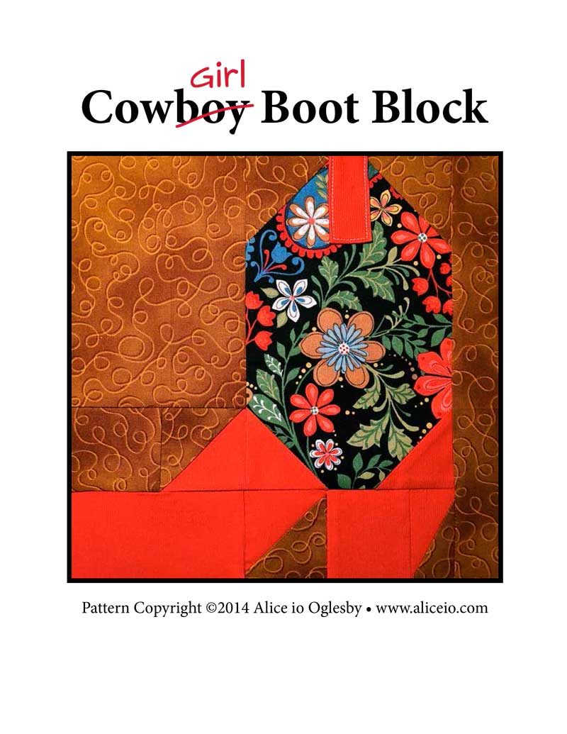 Cowboy Boot Quilt Block Pattern Instant Digital Pdf Download
